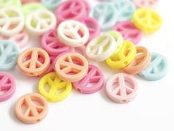 Acheter 50 perles en plastique - peace and love - pastelles - 3,49€ en ligne sur La Petite Epicerie - Loisirs créatifs