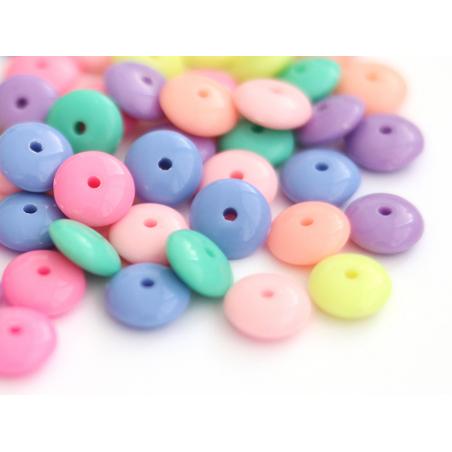 Acheter 50 perles en plastique - rondelles pastelles - 10 mm - 1,99€ en ligne sur La Petite Epicerie - Loisirs créatifs
