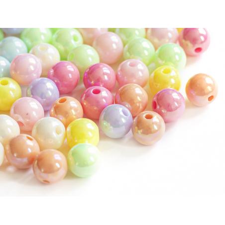 Acheter 100 perles en plastiques rondes - pastelles nacrées - 8 mm - 4,49€ en ligne sur La Petite Epicerie - Loisirs créatifs