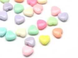 Acheter 50 perles en plastique - coeurs pastels - 11 mm - 3,49€ en ligne sur La Petite Epicerie - Loisirs créatifs