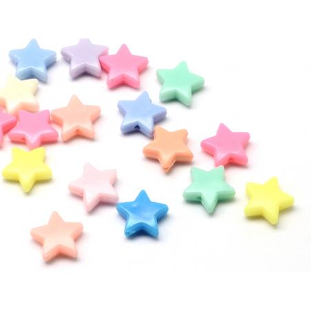 Acheter 50 perles en plastique - étoiles pastelles - 14 mm - 3,49€ en ligne sur La Petite Epicerie - Loisirs créatifs