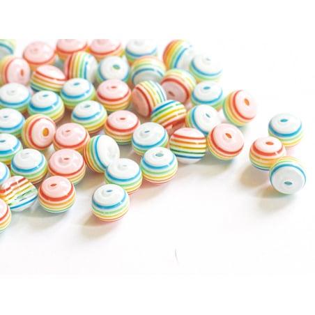 Acheter 50 perles en résine à rayures pastelles - 8 mm - 4,99€ en ligne sur La Petite Epicerie - Loisirs créatifs