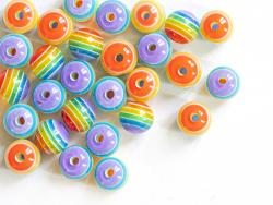 Acheter 50 perles en résine à rayures colorées - 8 mm - 4,99€ en ligne sur La Petite Epicerie - Loisirs créatifs
