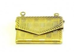 1 breloque enveloppe à motif - couleur bronze