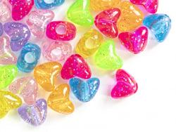 Acheter 50 perles en plastique- cœurs pailletés - multicolore - 2,49€ en ligne sur La Petite Epicerie - Loisirs créatifs