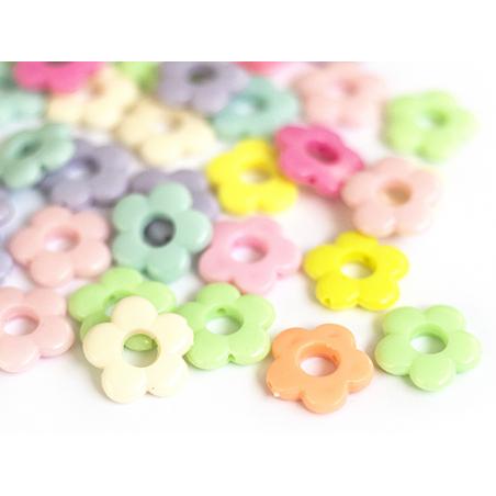 Acheter 50 perles fleurs évidées en plastique - multicolore - 3,99€ en ligne sur La Petite Epicerie - Loisirs créatifs