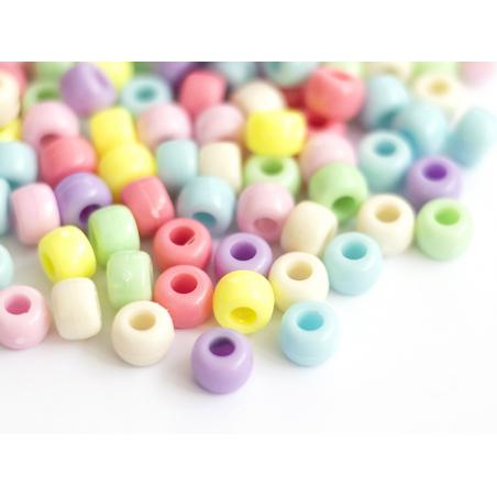 Acheter 100 perles en plastiques basiques pour enfants - couleurs pastelles - 9x6 mm - 2,49€ en ligne sur La Petite Epicerie...