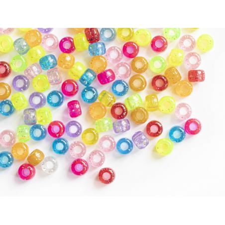 Acheter 100 perles en plastiques basiques pour enfants - multicolore à paillettes - 9x6 mm - 3,99€ en ligne sur La Petite Ep...