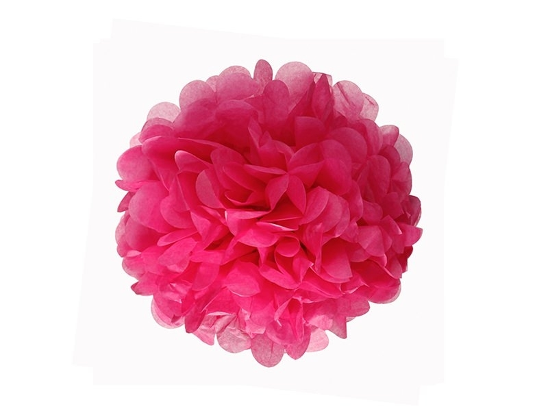 Tissue paper pom-pom (20 cm) - fuchsia