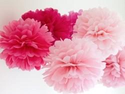 Pompon en papier de soie 20 cm - rose fuschia