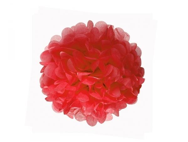 pompon en papier de soie 20 cm rouge coquelicot. Black Bedroom Furniture Sets. Home Design Ideas
