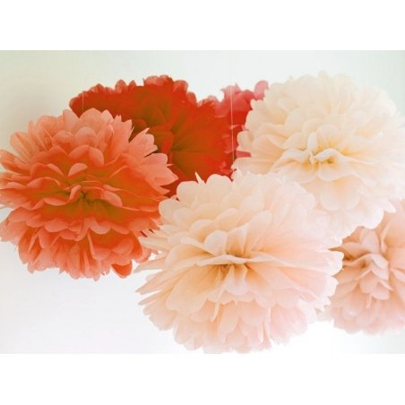 Tissue paper pom-pom (20 cm) - poppy red