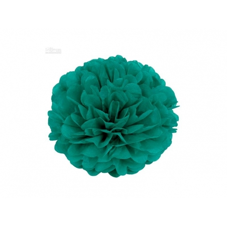 Pompon en papier de soie 20 cm - vert émeraude