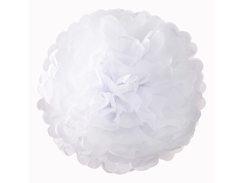 Pompon en papier de soie 30 cm - blanc