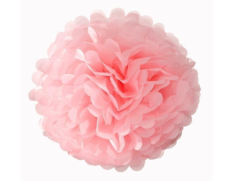 Pompon en papier de soie 30 cm - rose pétale
