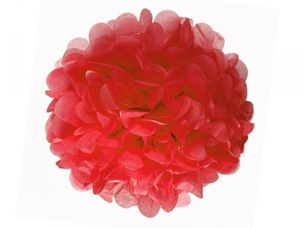 Pompon en papier de soie 30 cm - rouge coquelicot