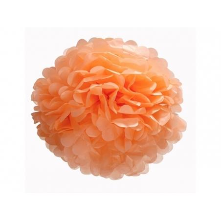 Pompon en papier de soie 30 cm - orange