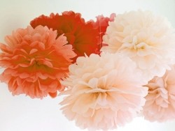 Pompon aus Seidenpapier (30 cm) - korallenrot
