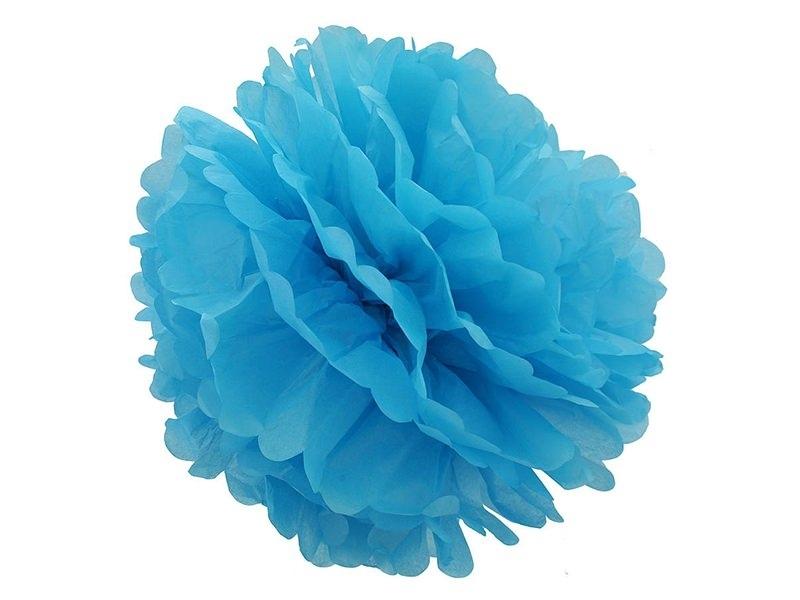 Pompon en papier de soie 30 cm - bleu ciel