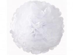 Pompon en papier de soie 35 cm - blanc
