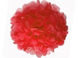 Pompon en papier de soie 35 cm - rouge coquelicot