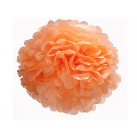 Pompon en papier de soie 35 cm - orange