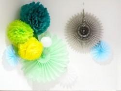 Pompon aus Seidenpapier (35 cm) - himmelblau