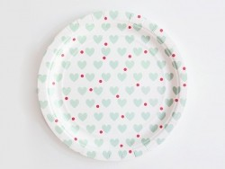 8 assiettes en papier My Little Day - Coeurs verts