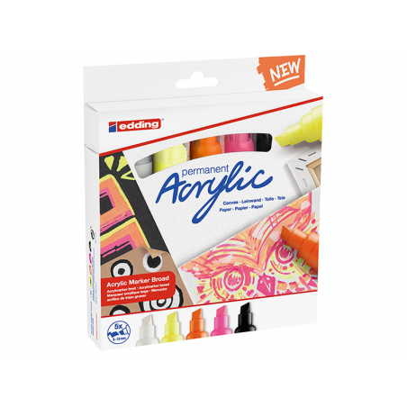 Acheter Set Abstract de 5 marqueurs acrylique à pointe large - edding - 22,90€ en ligne sur La Petite Epicerie - Loisirs cré...