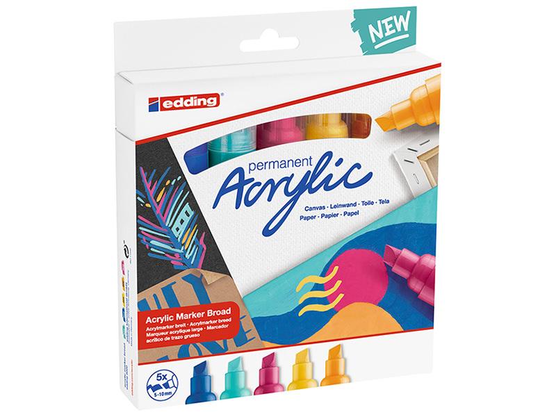 Acheter Set Neon de 5 marqueurs acrylique à pointe large - edding - 22,90€ en ligne sur La Petite Epicerie - Loisirs créatifs