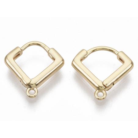 Acheter Paire de boucles d'oreilles huggies - forme triangle - 13 x 13 x 2,5 mm - doré à l'or fin 18K - 4,99€ en ligne sur L...