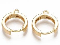 Acheter Paire de boucles d'oreilles huggies - anneau rond - 16,5 x 14,5 x 3,5 mm - doré à l'or fin 18K - 4,69€ en ligne sur ...