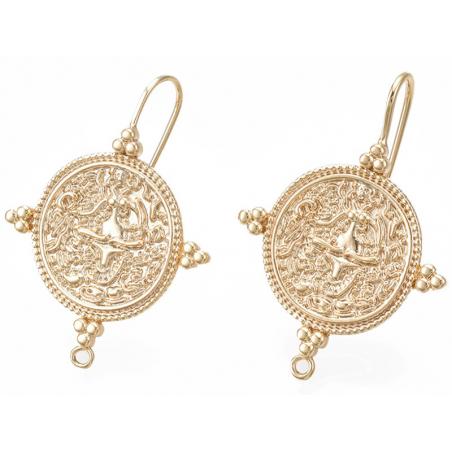 Acheter Paire de boucles d'oreilles pendantes avec médaillon - doré à l'or fin 18K - 6,99€ en ligne sur La Petite Epicerie -...