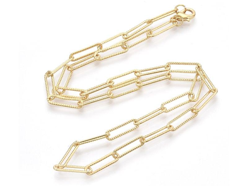 Acheter Collier chaîne trombone texturée - 47 cm - 15,5 x 4,5 - doré à l'or fin 18K - 6,99€ en ligne sur La Petite Epicerie ...