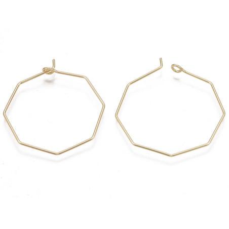 Acheter Paire de boucles d'oreilles anneau octogonal - 31 x 28 x 0,8 mm - doré à l'or fin 18K - 1,39€ en ligne sur La Petite...