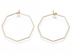 Acheter Paire de boucles d'oreilles anneau hoctogonal - 31 x 28 x 0,8 mm - doré à l'or fin 18K - 1,39€ en ligne sur La Petit...
