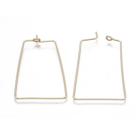 Acheter Paire de boucles d'oreilles anneau trapèze -  33 x 25 x 0,8 mm - doré à l'or fin 18K - 1,39€ en ligne sur La Petite ...
