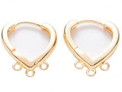 Acheter Paire de boucles d'oreilles huggies - forme triangle 3 anneaux - 17 x 15 x 2,5 mm - doré à l'or fin 18K - 4,99€ en l...