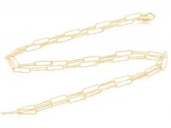 Acheter Collier chaîne trombone texturée - 60,5 cm - 11,5 x 3,5 - doré à l'or fin 18K - 9,99€ en ligne sur La Petite Epiceri...