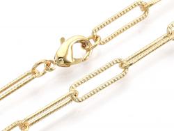 Acheter Collier chaîne trombone texturée - 61 cm - 15,5 x 4,5 - doré à l'or fin 18K - 7,99€ en ligne sur La Petite Epicerie ...