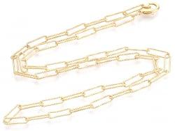 Acheter Collier chaîne trombone texturée - 49,5 cm - 11,5 x 3,5 - doré à l'or fin 18K - 8,99€ en ligne sur La Petite Epiceri...