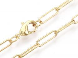 Acheter Collier chaîne trombone - 62 cm - 12 x 3,5 - doré à l'or fin 18K - 5,49€ en ligne sur La Petite Epicerie - Loisirs c...
