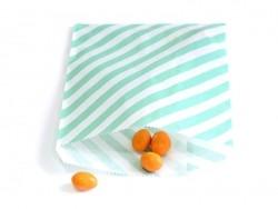 25 sacs en papier à rayures - vert