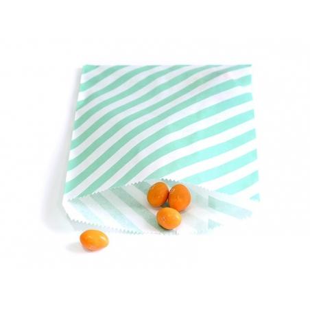 25 striped paper bags - sea green