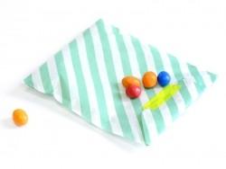 25 Papiertüten mit Streifen - meergrün