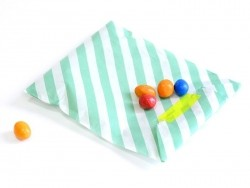 25 sacs en papier à rayures - vert menthe