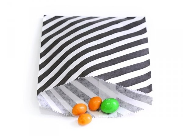 25 striped paper bags - black