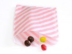 25 sacs en papier à rayures -  rose pastel