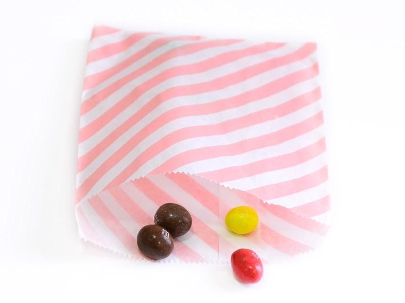25 sacs en papier à rayures -  rose pastel  - 1