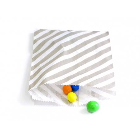 25 sacs en papier à rayures -  gris